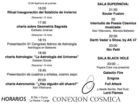 Horarios Festival Conexión Cósmica Solsticio Invierno 13.001