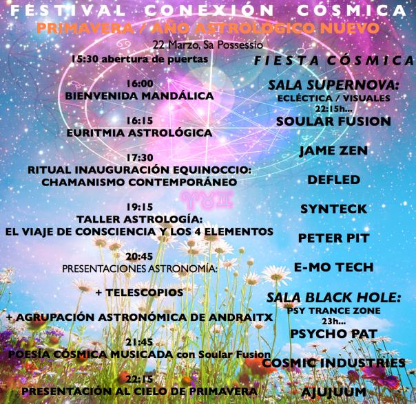 Festival Conexión Cósmica Primavera 2014 - Horarios