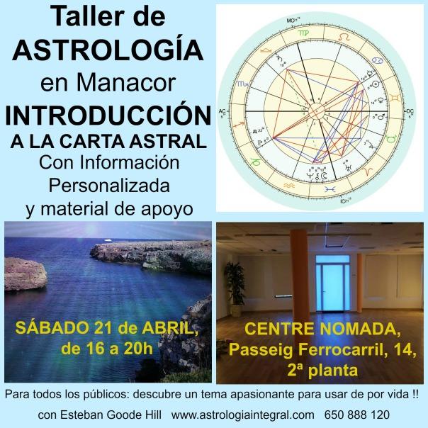 Taller Astrología Manacor Sábado 21 Abril